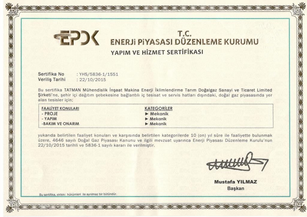 EPDK-Yapımve Hizmet-Sertifikası